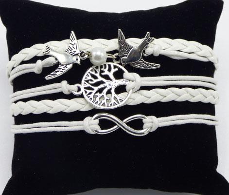 Bracelet tissus tressé blanc