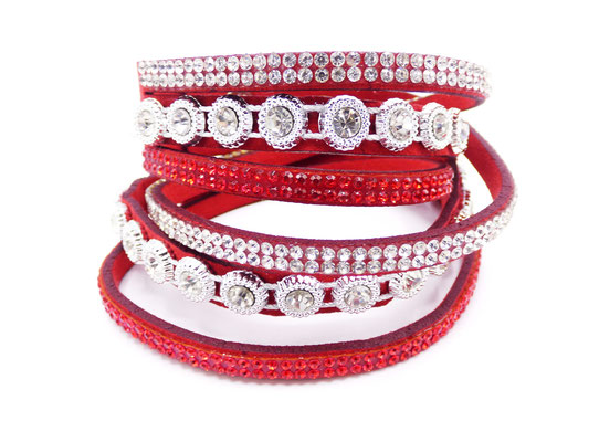 Bracelet cuir Multi-Tours Rouge