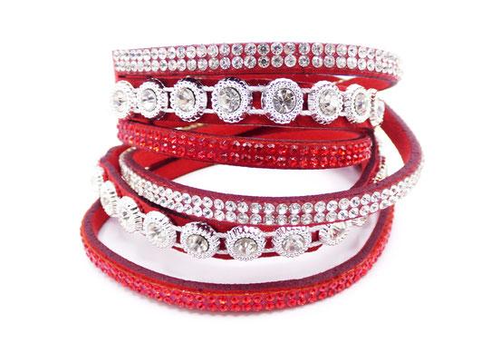 Bracelet cuir Multi-Tours Rouge