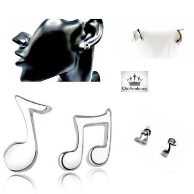 boucles d'oreilles argent 925 note de musique