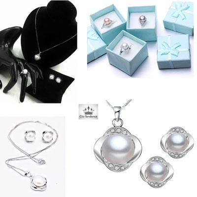 bijou en perle argent 925 et zirconium