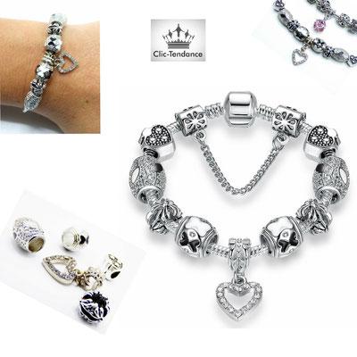 bracelet fantaisie composable en argent plaque
