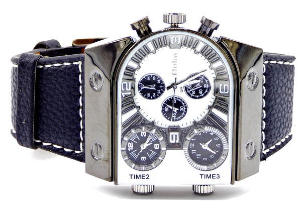 montre homme fashion bracelet cuir et cadran blanc et chrome