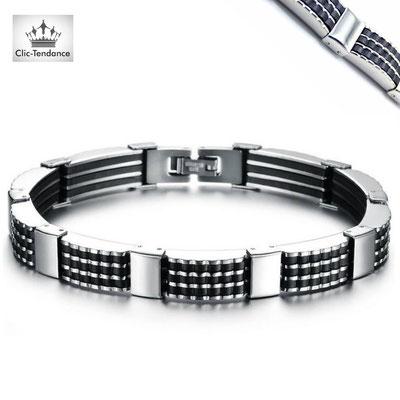 bijou bracelet acier inox homme et silicone noir