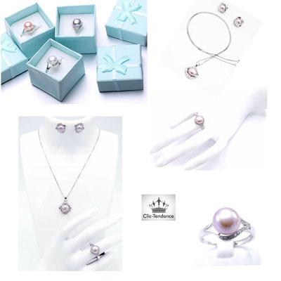 parure de bijoux femme perle rose
