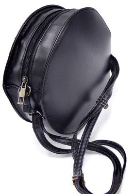 sac femme rond cuir noir