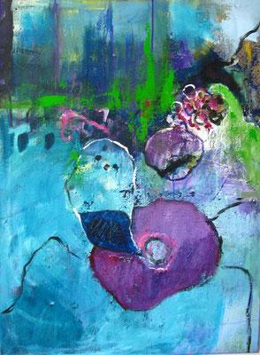 Blaue Blume, Acryl auf LW (verkauft)