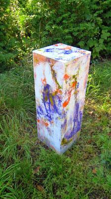 Kubus weiss-lila-orange, 75 x 25 x 25 cm