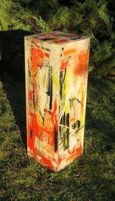 Kubus rot-weiss, 75 x 25 x 25 cm