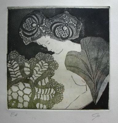 Vernis Mou, Kaltnadel u Aquatinta, Radieurng von 2 Platten