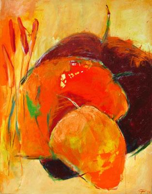 Blätter, Acryl auf LW, 90x70 cm