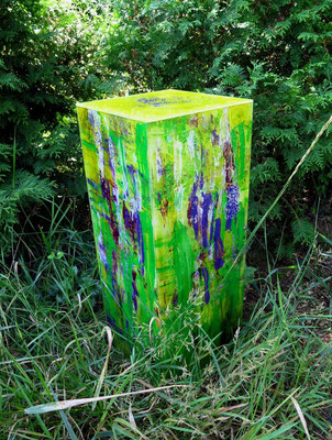 Kubus grün-blau-lila, 75 x 25 x 25 cm