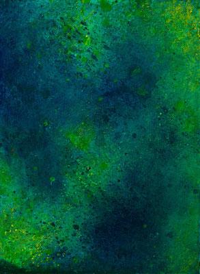 abstraktes Gemälde in grün und Blautönen