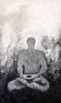 """mystische Malerei, Titel: """"Meditation"""" (130x220cm) - Acryl, Kreide, Sprühlack, Schlagmetall, Pigmente auf Platte"""