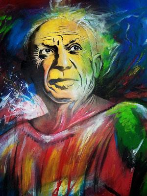 """""""Picasso"""" Portrait Schablone mit Sprühlack, Acrylfarben und Kreide auf Buchbinderkarton"""