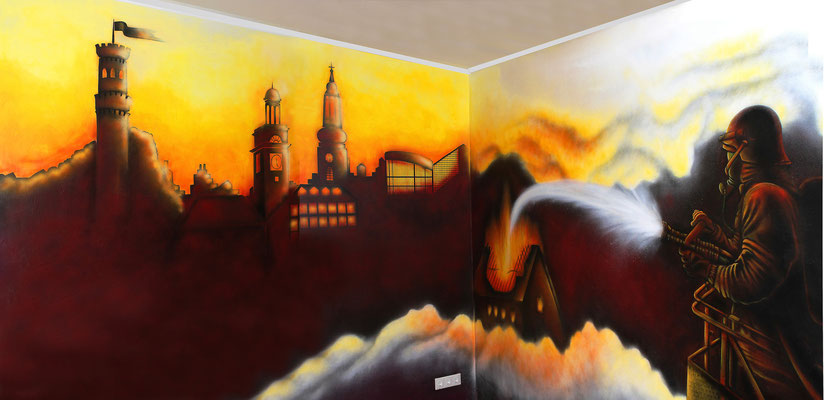 Wandgestaltung im Aufenthaltsraum der Wittener Feuerwehr