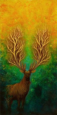 """mystische Malerei, Titel: """"Inbrunst"""" (130x220cm) - Acryl, Kreide, Sprühlack, Schlagmetall, Pigmente auf Platte"""