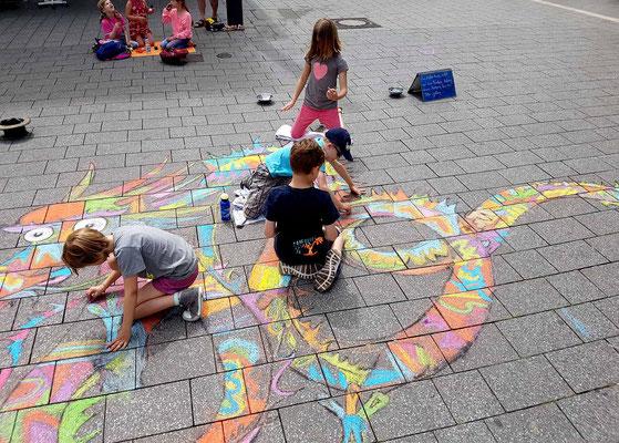 Straßenmalerei Projekt mit Kindern in Witten