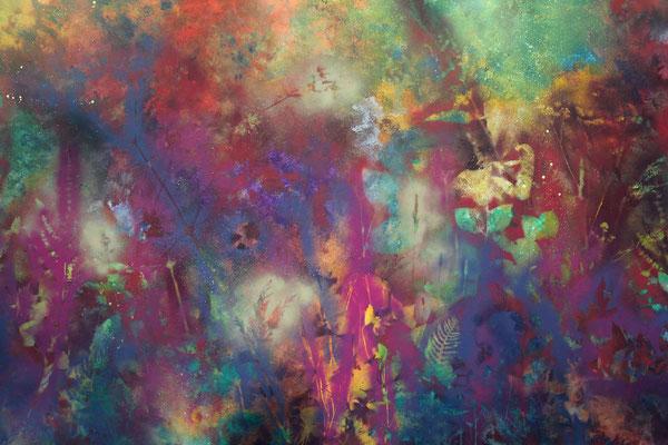 abstraktes Gemälde mit Pflanzen silhouetten in Mischtechnik: Sprühlack, Acryl,  in bunt