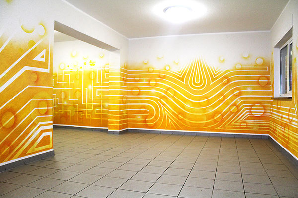Op-Art Foyer Gestaltung im Wohnhaus in Witten