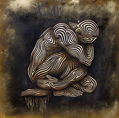 """mystische Malerei, Titel: """"Kontemplation"""" (123x123cm) - Acryl, Kreide, Öl, Sprühlack, Schlagmetall, Pigmente auf Platte."""