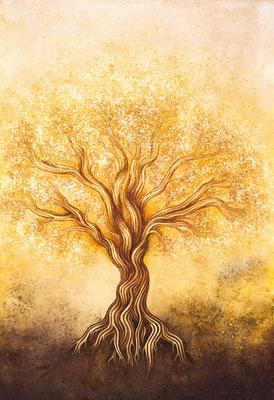"""mystische Malerei, Titel: """"Fruchtbarkeit"""" - Acryl, Kreide, Öl, Sprühlack, Schlagmetall, Pigmente auf Platte"""