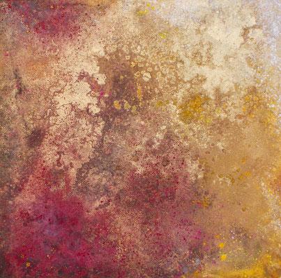 abstraktes Gemälde in Mischtechnik: Öl, Acryl, Pigmente in rot und goldtönen