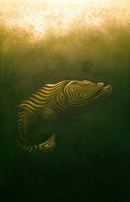 """mystische Malerei, Titel: """"Tiefenrausch"""" (130x200cm) - Acryl, Kreide, Sprühlack, , Schlagmetall, Pigmente auf Leinwand"""