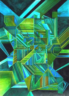 Gemälde Komposition Malachit, in Grüntönen