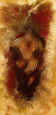 """mystische Malerei, Titel: """"Frauen Akt"""" (100x200cm) - Acryl, Sprühlack, Schlagmetall, Kreide Pigmente auf Leinwand"""