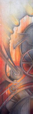 konstruktivistische Gemälde Komposition in Rottönen