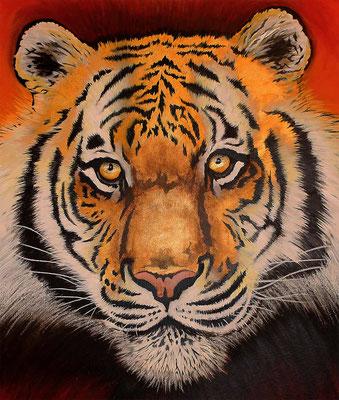 Street Art Tiger auf Pappe