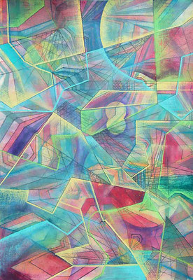 Gemälde Komposition in bunt