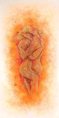 """mystische Malerei, Titel: """"Verbindung"""" (100x200cm) - Acryl, Sprühlack, Schlagmetall, Pigmente"""
