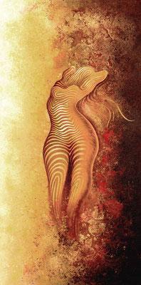 """mystische Malerei, Titel: """"Frauen Akt 2"""" (100x200cm) - Acryl, Sprühlack, Schlagmetall, Kreide Pigmente auf Leinwand"""