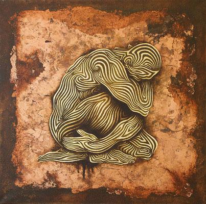 """mystische Malerei, Titel: """"Kontemplation"""" (50x50cm) - Acryl, Kreide, Öl, Sprühlack, Kupfer, Pigmente auf Platte"""