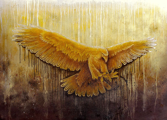 """mystische Malerei, Titel: """"Angriff"""" (140x100m) - Acryl, Kreide, Sprühlack, Pigmente auf Leinwand Begegnung ("""