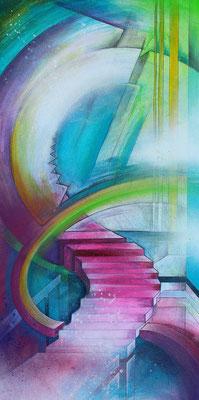 konstruktivistische Gemälde Komposition in bunt