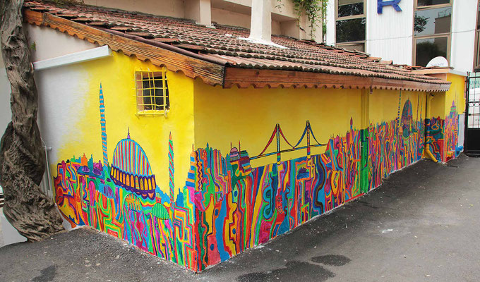 Wandgestaltung mit Kindern in Istanbul