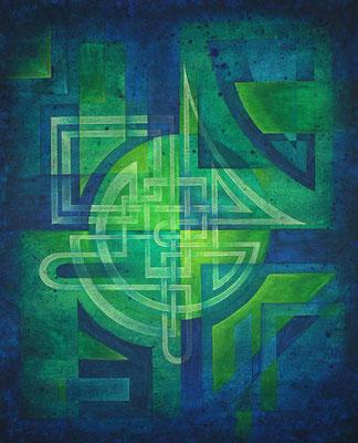 Gemälde Komposition in Grüntönen