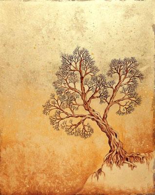 """mystische Malerei, Titel: """"der goldene Baum"""", Schlagmetall und Tusche auf Pappe"""
