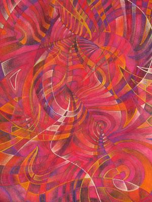 Gemälde Komposition in orange und Rottönen