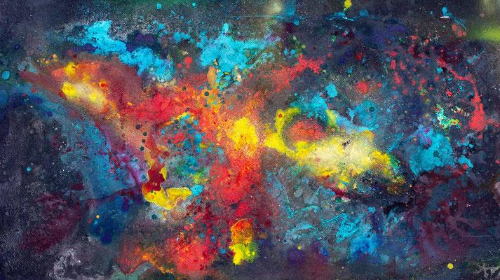 abstraktes Gemälde in Mischtechnik: Sprühlack, Acryl,  in bunt