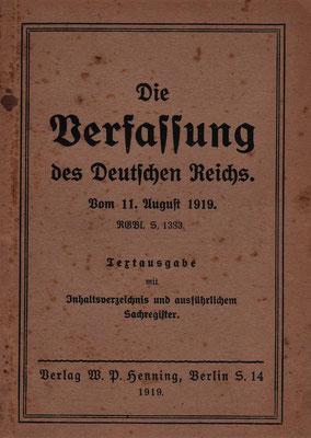 Schlusspunkt der Revolution: Die Weimarer Verfassung 1919