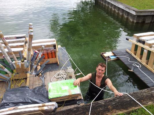 Bavarian Fireworx Performance Aufbau im Wasser