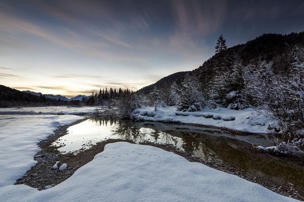 Winterliches Abendlicht in den Isarauen II (Bildnummer 810901)