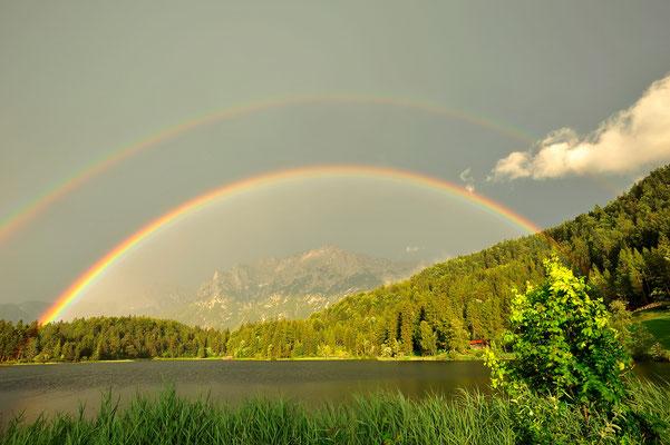 Regenbogen über dem Lautersee / Deutschland (Bildnummer 8196)