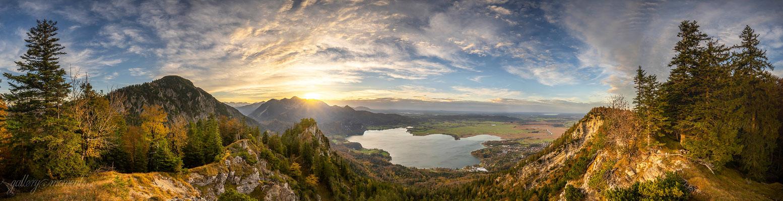 Sonnenuntergang am Herzogstand und Kochelsee / Deutschland (Bildnummer Z707481)