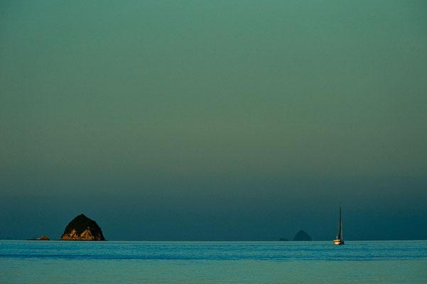 Segelboot verlässt den Hafen im letzten Licht des Tages / Neuseeland (Bildnummer 7579)