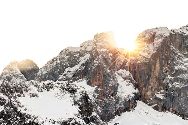 Letzte Sonnenstrahlen an der Karwendelspitze